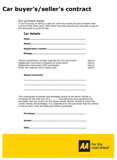 Car Buyers Sellers Contract