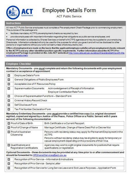 Fair Work Employment Sheet