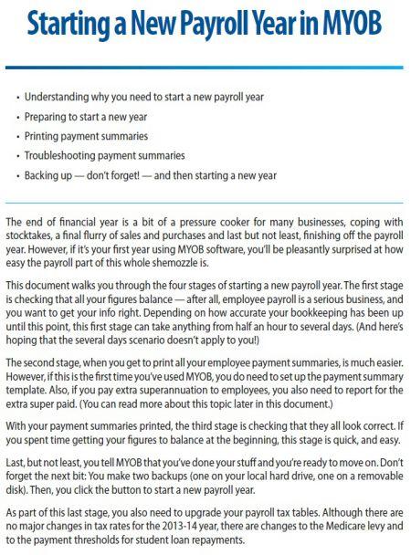 Payroll using MYOB software