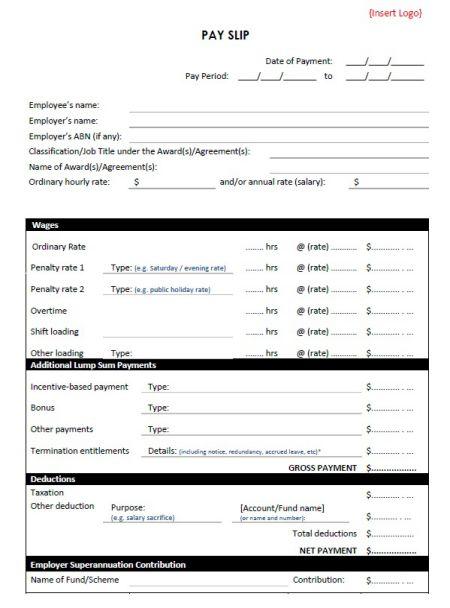 Weekly Payslip Template