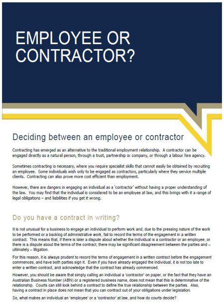 employee versus contractor factsheet