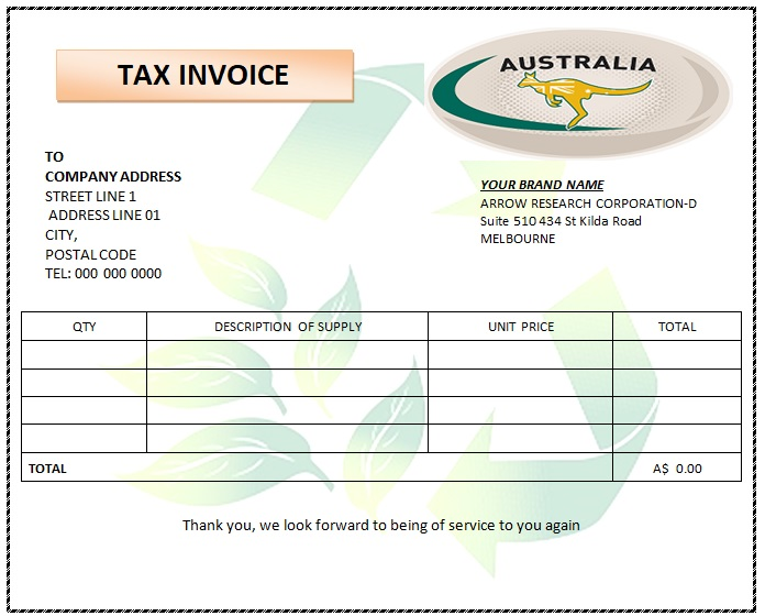 Australia Tax Invoice Templates 25 Free Printable Designs All Down Under