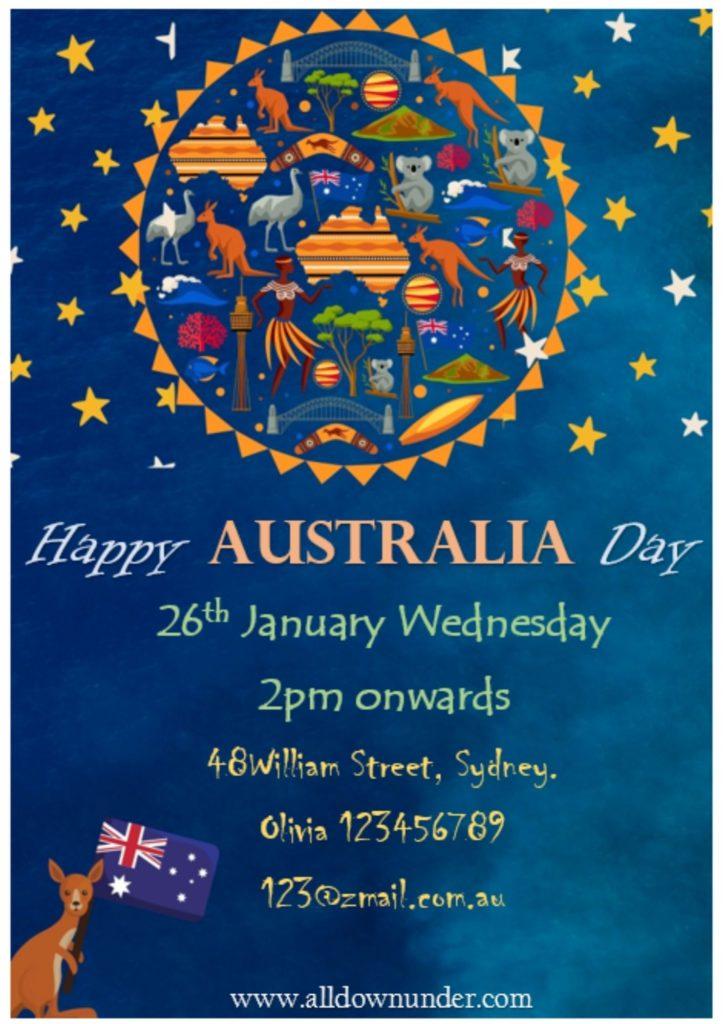 Australia Day Celebration Invitation Template