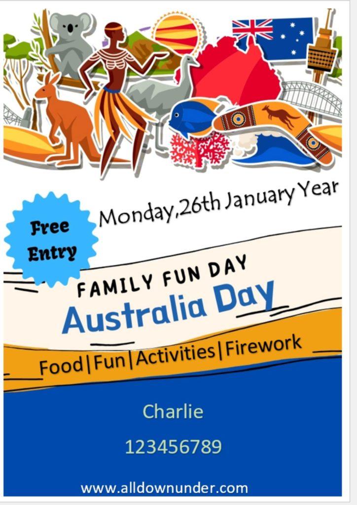 Australia Day Invitation For Family